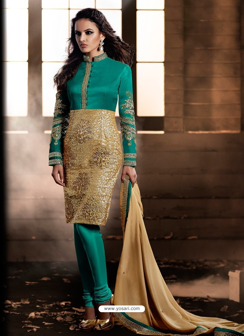 Green And Golden color Bhagalpuri Silk Churidar Suit