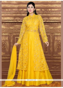 Imposing Net Yellow Lehenga Choli