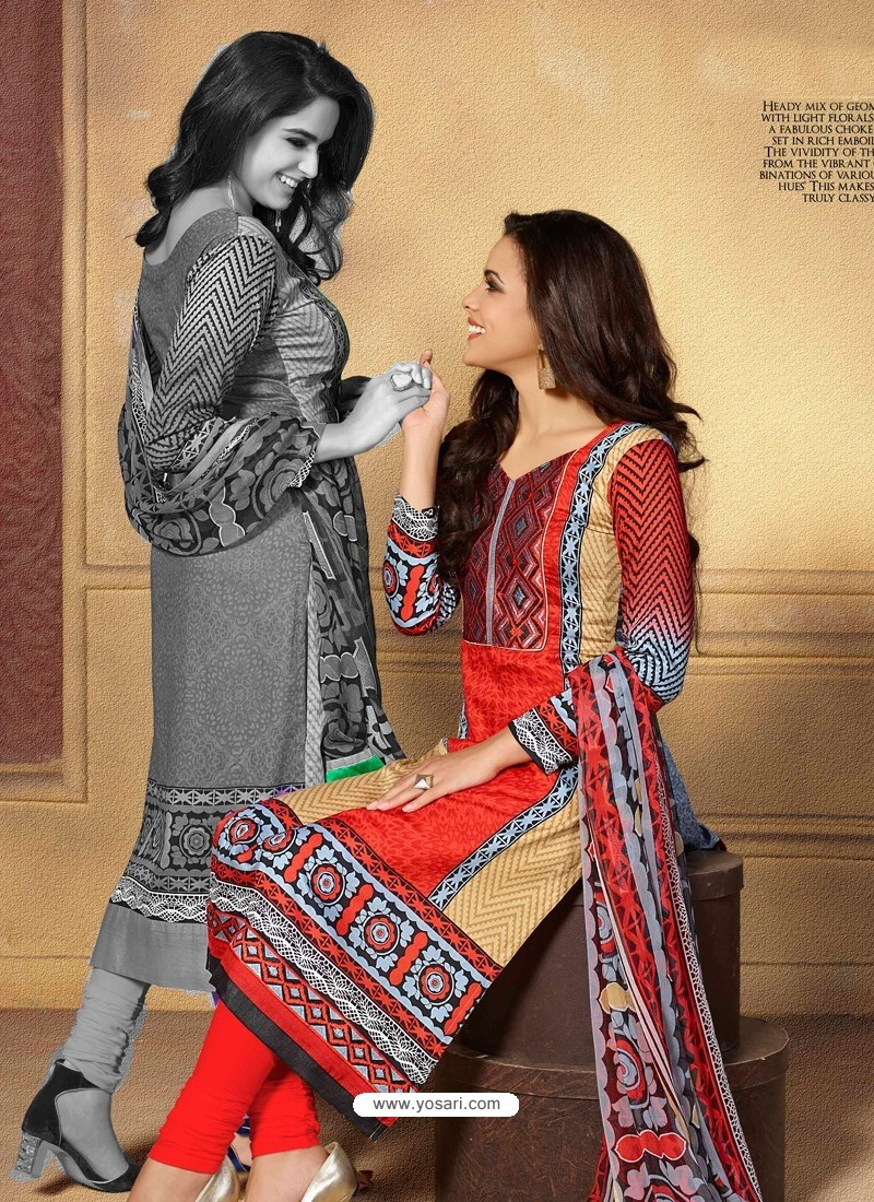 Multicolor Chiffon Satin Churidar Suit