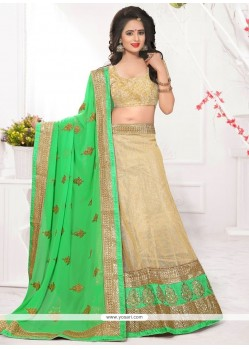 Vibrant Beige Lace Work Net Lehenga Choli