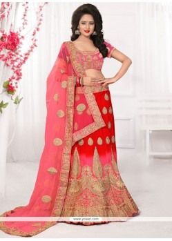 Magnificent Pink And Red Zari Work Lehenga Choli