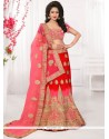 Magnificent Pink And Red Zari Work Lehenga Choli