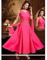 Swanky Hot Pink Lace Work Art Silk Readymade Anarkali Salwar Suit
