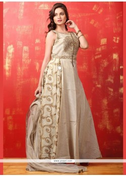 Lively Dupion Silk Zari Work Readymade Anarkali Salwar Suit