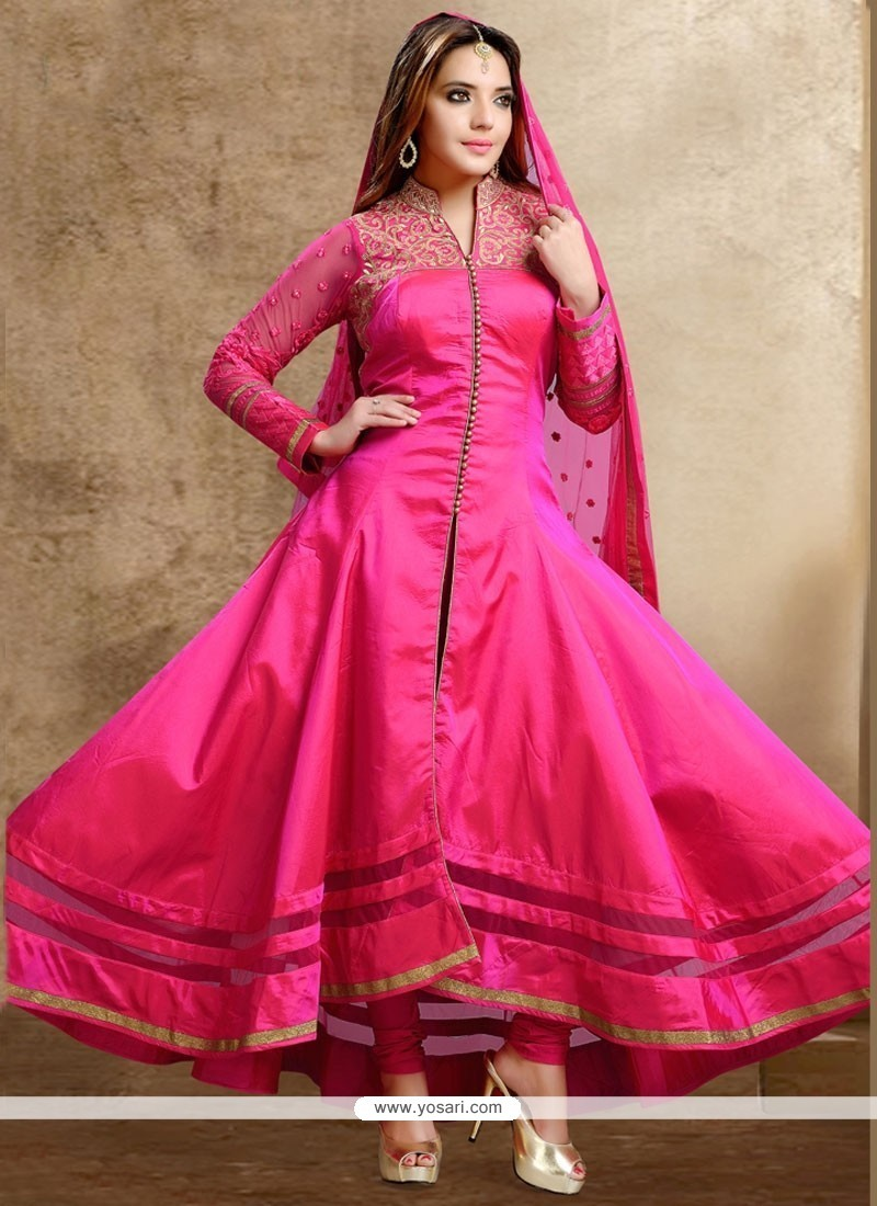 Hot Pink Dupion Silk Readymade Anarkali Salwar Suit