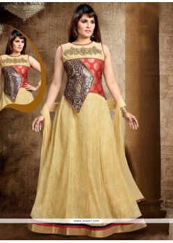 Imposing Beige Readymade Anarkali Salwar Suit