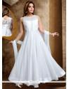 Fantastic White Lace Work Fancy Fabric Readymade Anarkali Salwar Suit