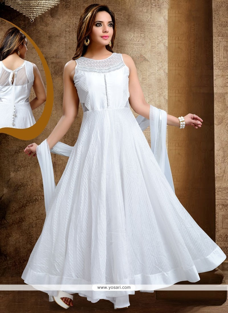 9bdc7c6fac Buy Fantastic White Lace Work Fancy Fabric Readymade Anarkali Salwar ...