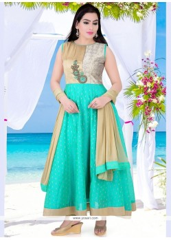 Amazing Sea Green Dupion Silk Readymade Anarkali Salwar Suit