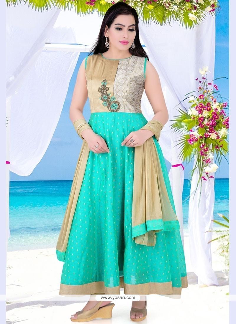 Amazing Sea Green Dupion Silk Readymade Anarkali Salwar Suit