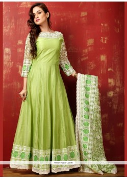 Staring Lace Work Green Art Silk Readymade Anarkali Salwar Suit