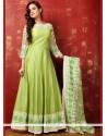 Staring Lace Work Green Art Silk Readymade Anarkali Salwar Suit