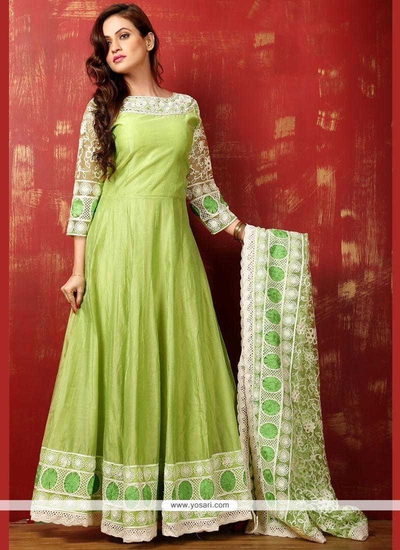 487d1107e4 Buy Staring Lace Work Green Art Silk Readymade Anarkali Salwar Suit ...