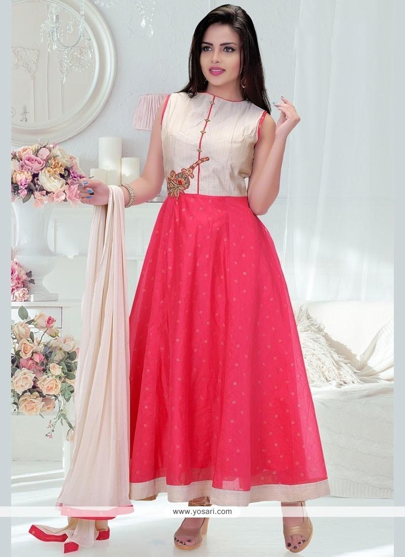 Cherubic Dupion Silk Hot Pink Patch Border Work Readymade Anarkali Salwar Suit
