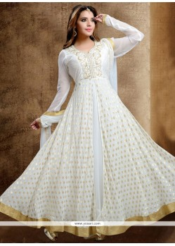 Impressive Lace Work White Readymade Anarkali Salwar Suit