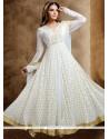 Impressive Lace Work White Readymade Anarkali Salwar Suit