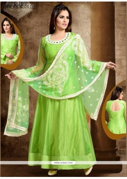Swanky Lace Work Green Readymade Anarkali Salwar Suit