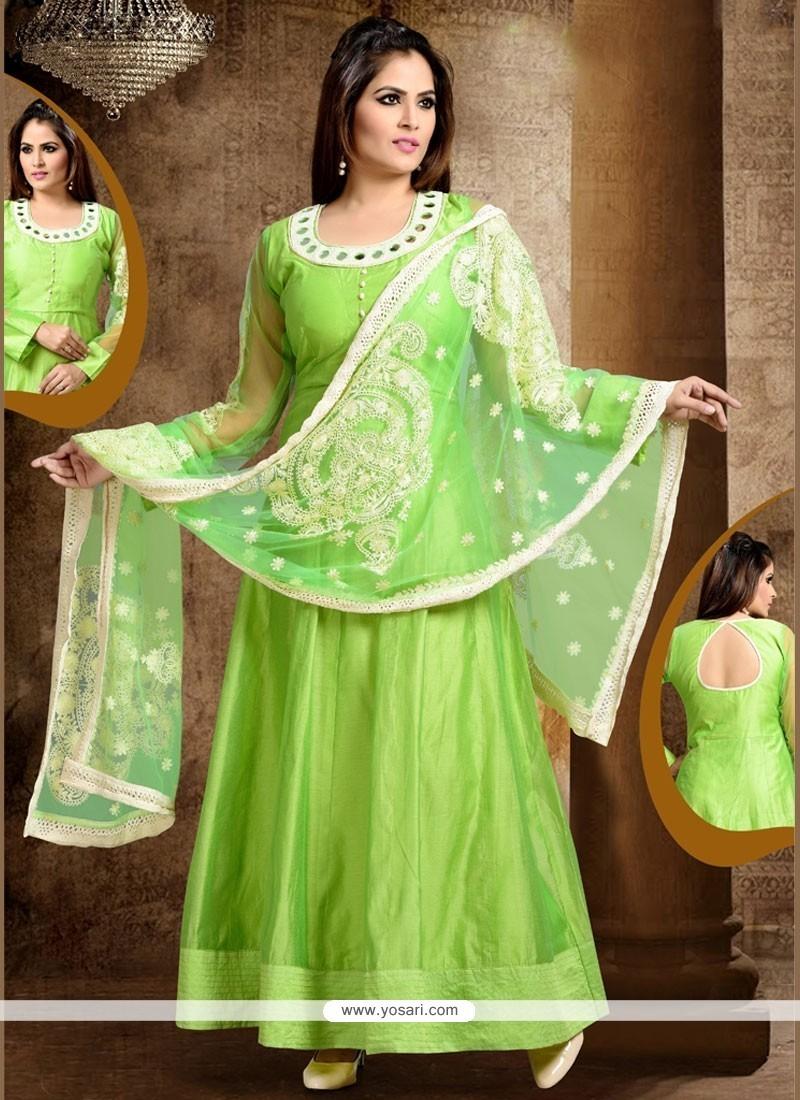 Swanky Lace Work Green Readymade Anarkali Salwar Suit