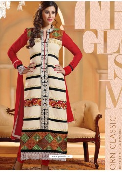 Red And White Georgette Churidar Suit