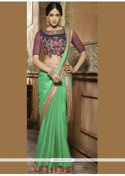 Refreshing Chiffon Satin Patch Border Work Designer Saree