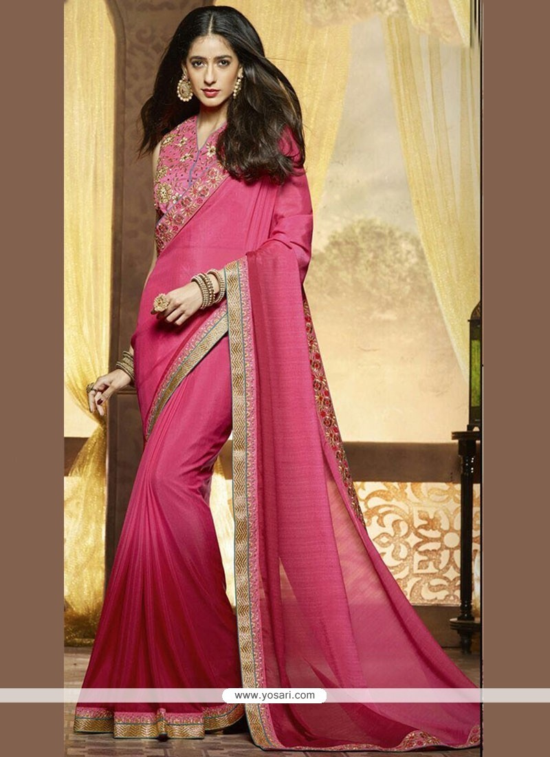 Excellent Chiffon Satin Hot Pink Stone Work Shaded Saree