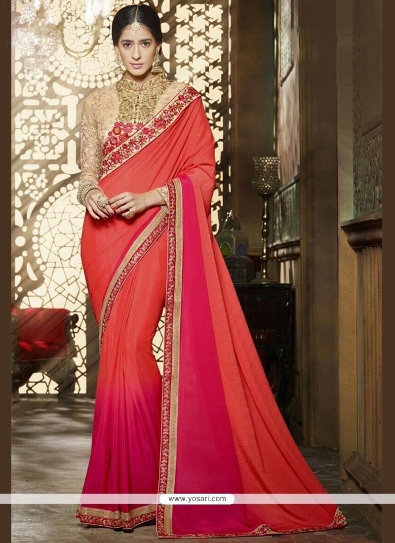 Royal Resham Work Hot Pink And Orange Shaded Saree