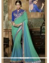 Sorcerous Embroidered Work Blue And Sea Green Shaded Saree