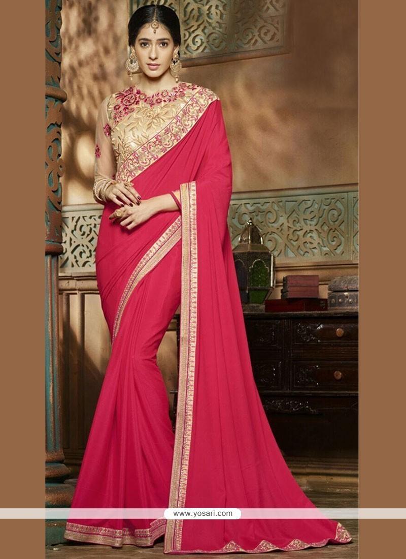 Glamorous Faux Crepe Resham Work Classic Designer Saree