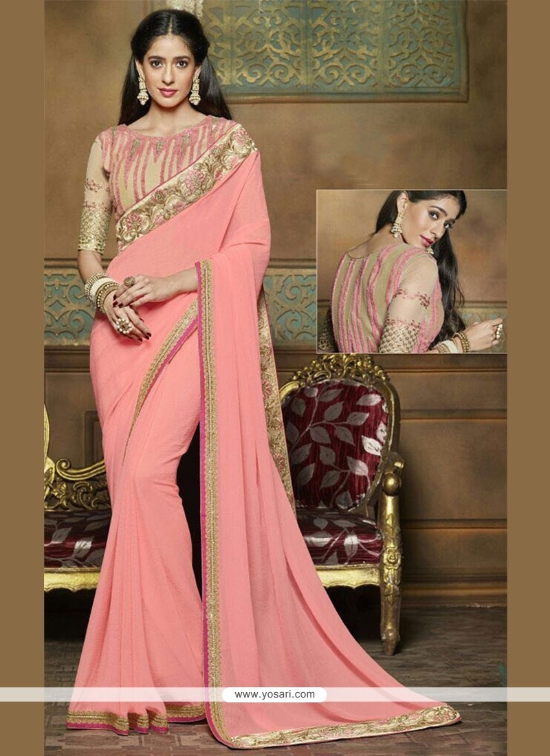 Zari Fancy Fabric Classic Saree In Pink