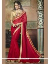 Aspiring Faux Chiffon Patch Border Work Classic Designer Saree