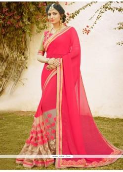 Paramount Faux Chiffon Hot Pink Designer Saree