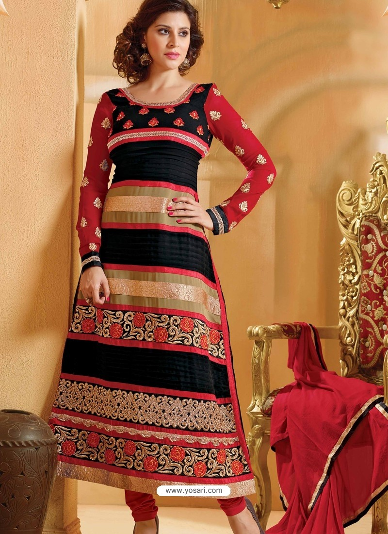 Red And Black Georgette Churidar Suit