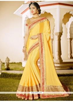 Aspiring Yellow Faux Chiffon Classic Designer Saree