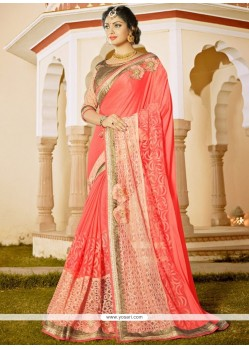 Peppy Rose Pink Patch Border Work Faux Chiffon Classic Saree