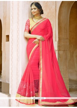 Riveting Faux Chiffon Embroidered Work Saree