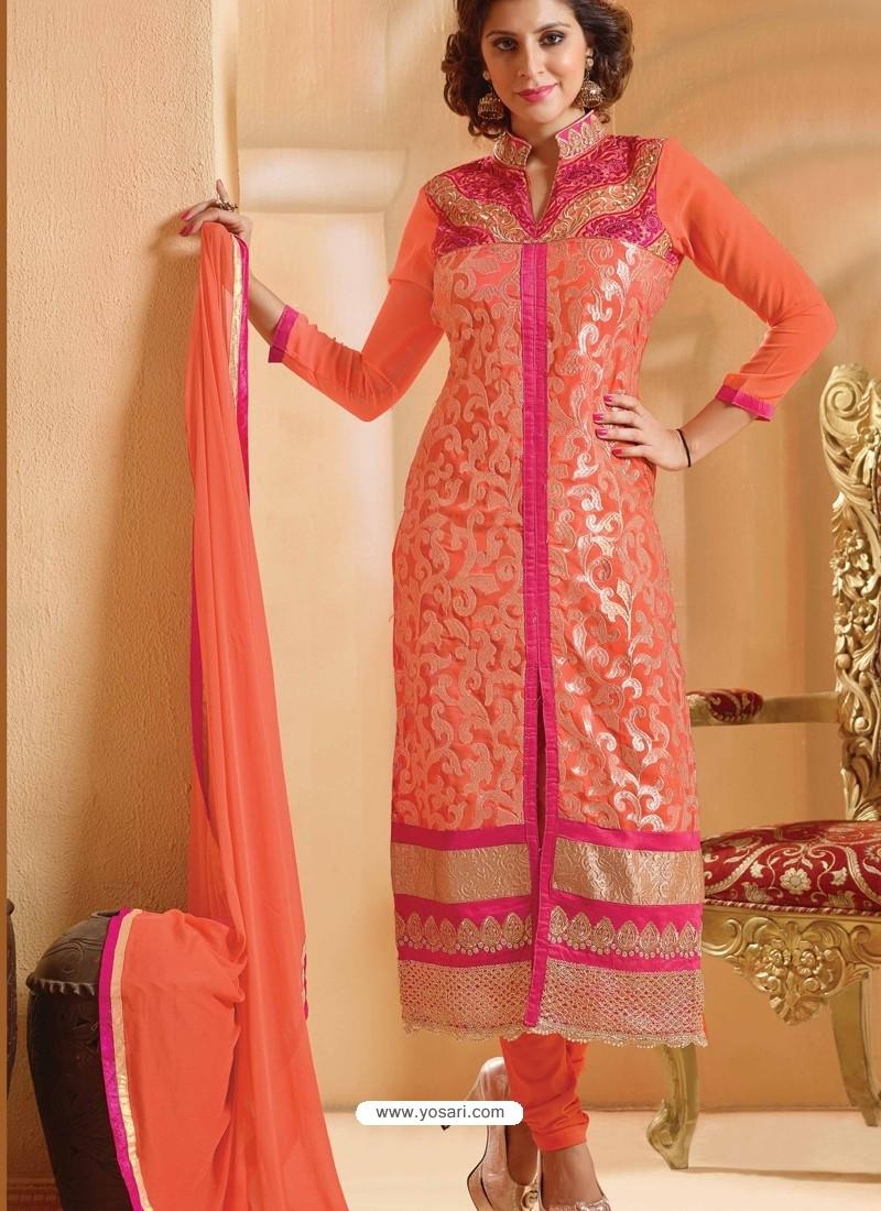 Orange And Pink Georgette Churidar Suit