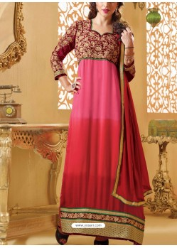 Pink And Maroon Georgette Churidar Suit