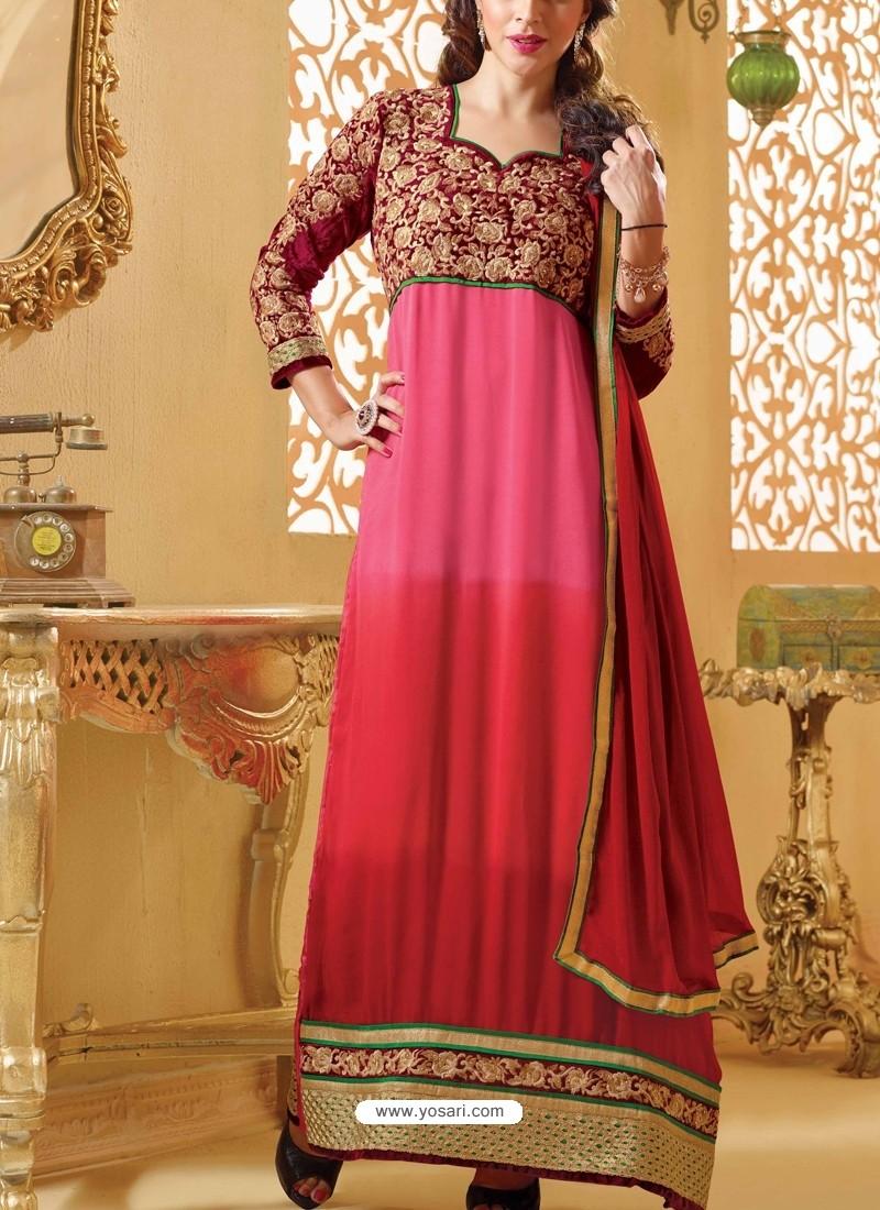 Pink And Maroon Georgette Churidar Suit