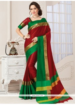 Fascinating Red Woven Work Art Silk Traditional Designer Saree