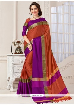 Surpassing Art Silk Orange Woven Work Traditional Saree