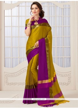 Floral Mustard Traditional Designer Saree