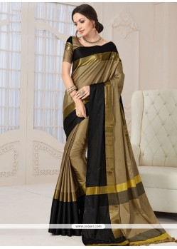 Fine Art Silk Beige And Black Designer Traditional Saree