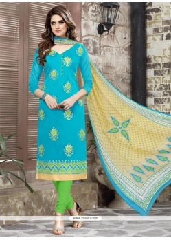 Delectable Turquoise Churidar Suit