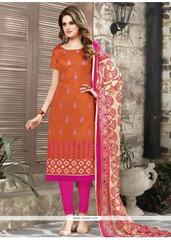 Eye-catchy Chanderi Cotton Orange Churidar Suit
