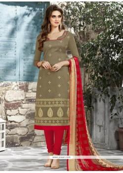 Appealing Chanderi Cotton Churidar Suit