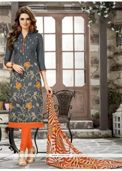 Sumptuous Embroidered Work Chanderi Cotton Grey Churidar Suit