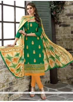 Brilliant Green Embroidered Work Chanderi Cotton Churidar Suit