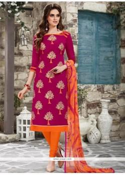 Masterly Chanderi Cotton Hot Pink Embroidered Work Churidar Suit