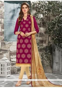 Strange Print Work Magenta Chanderi Cotton Churidar Suit