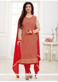 Celestial Red Churidar Designer Suit